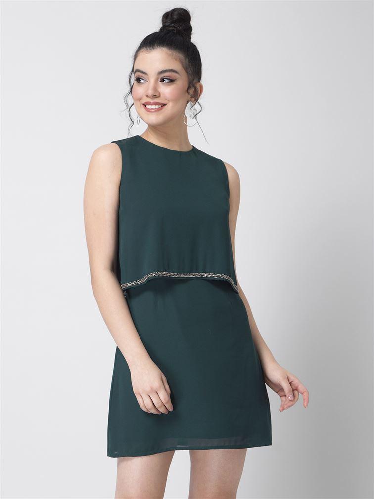Faballey Women Party Wear Green Cape Dress