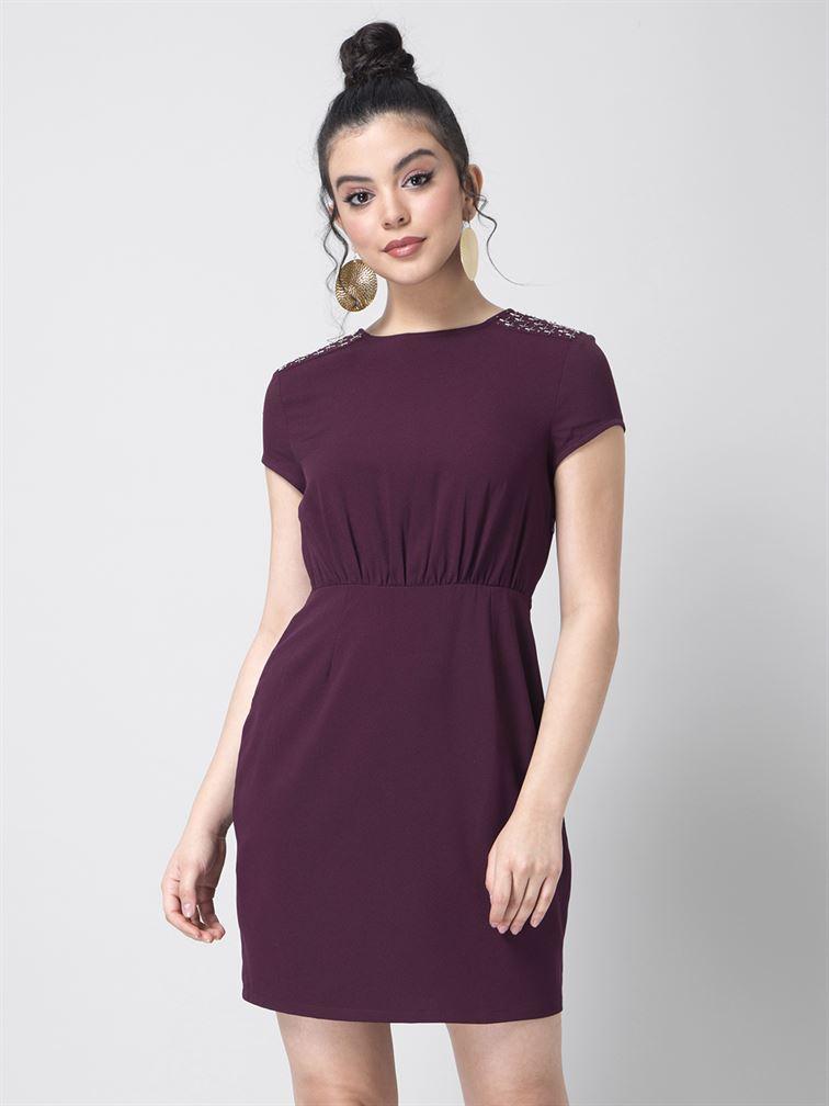 Faballey Women Party Wear Purple Sheath Dress
