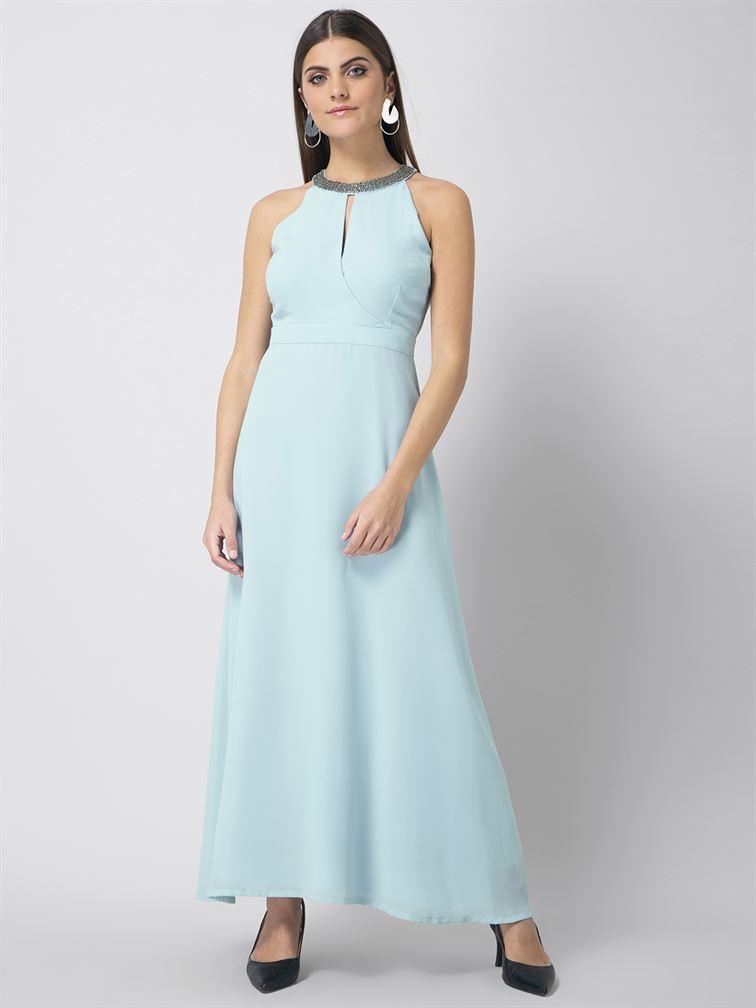 Faballey Women Party Wear Blue A-Line Dress