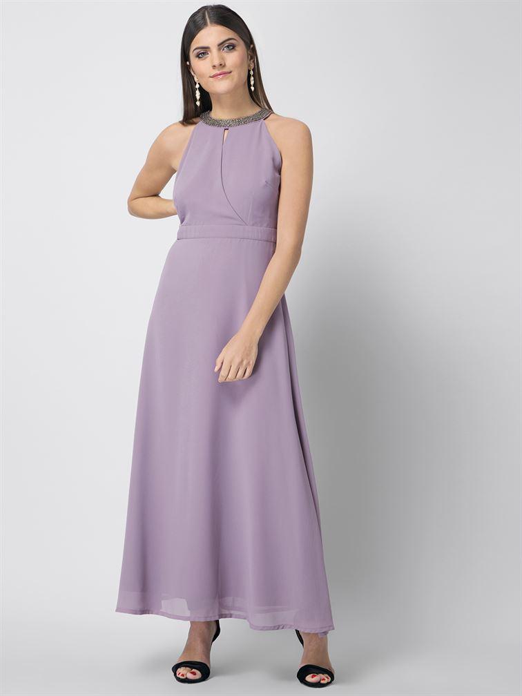 Faballey Women Party Wear Purple A-Line Dress