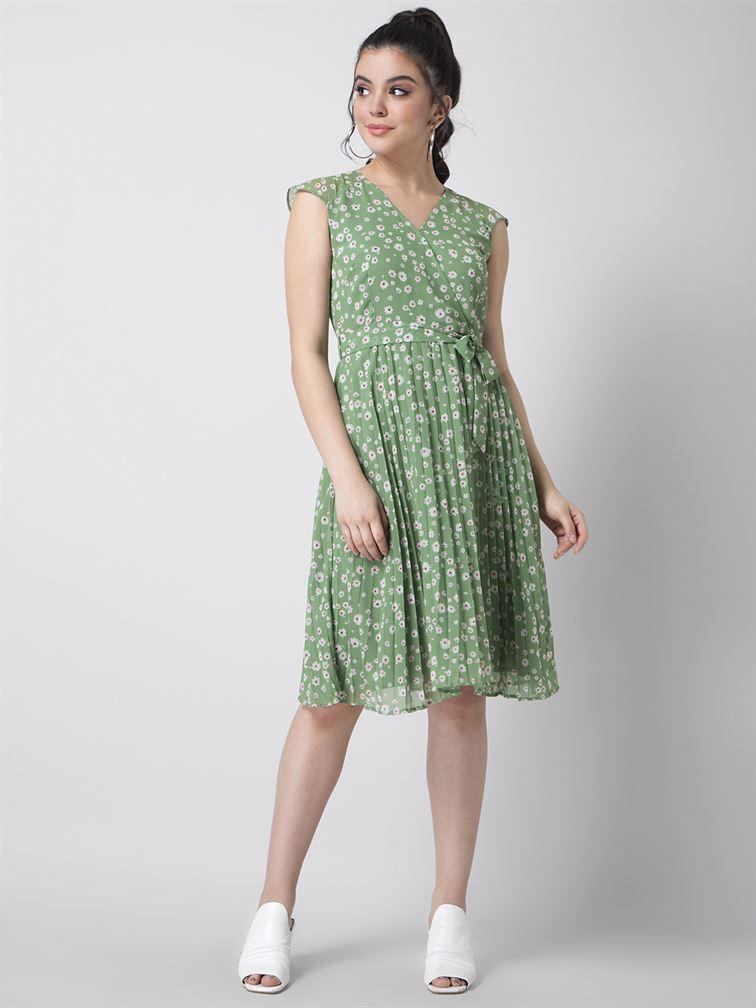 Faballey Women Casual Wear Green A-Line Dress