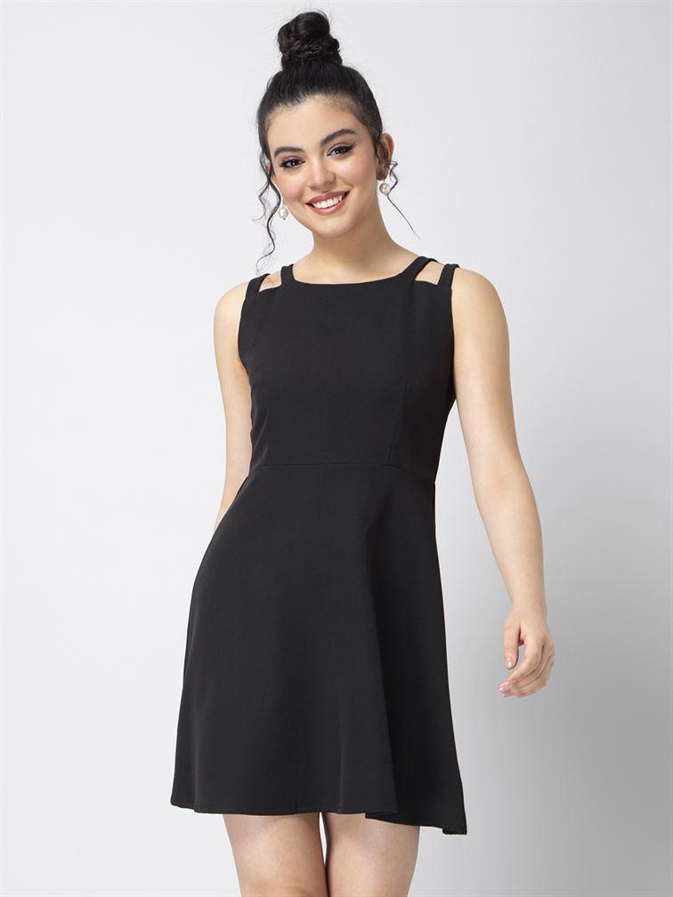 Faballey Women Party Wear Black Skater Dress