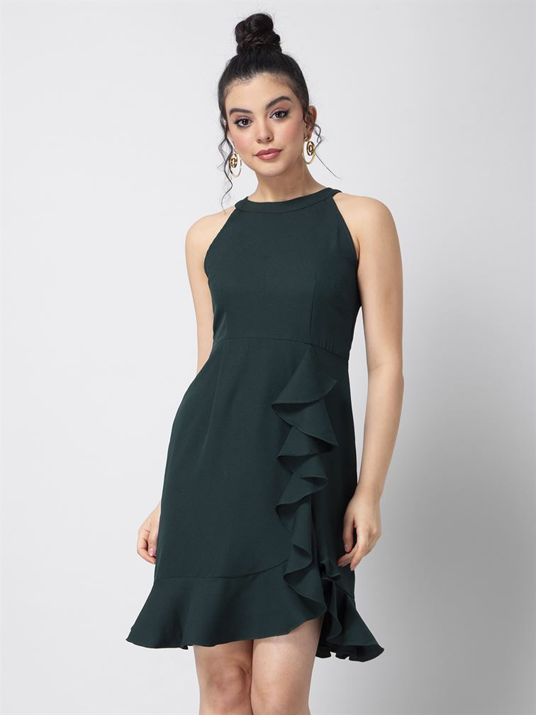 Faballey Women Party Wear Green Shift Dress