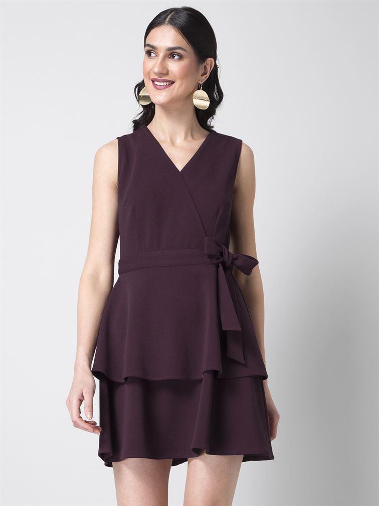 Faballey Women Party Wear Purple Skater Dress