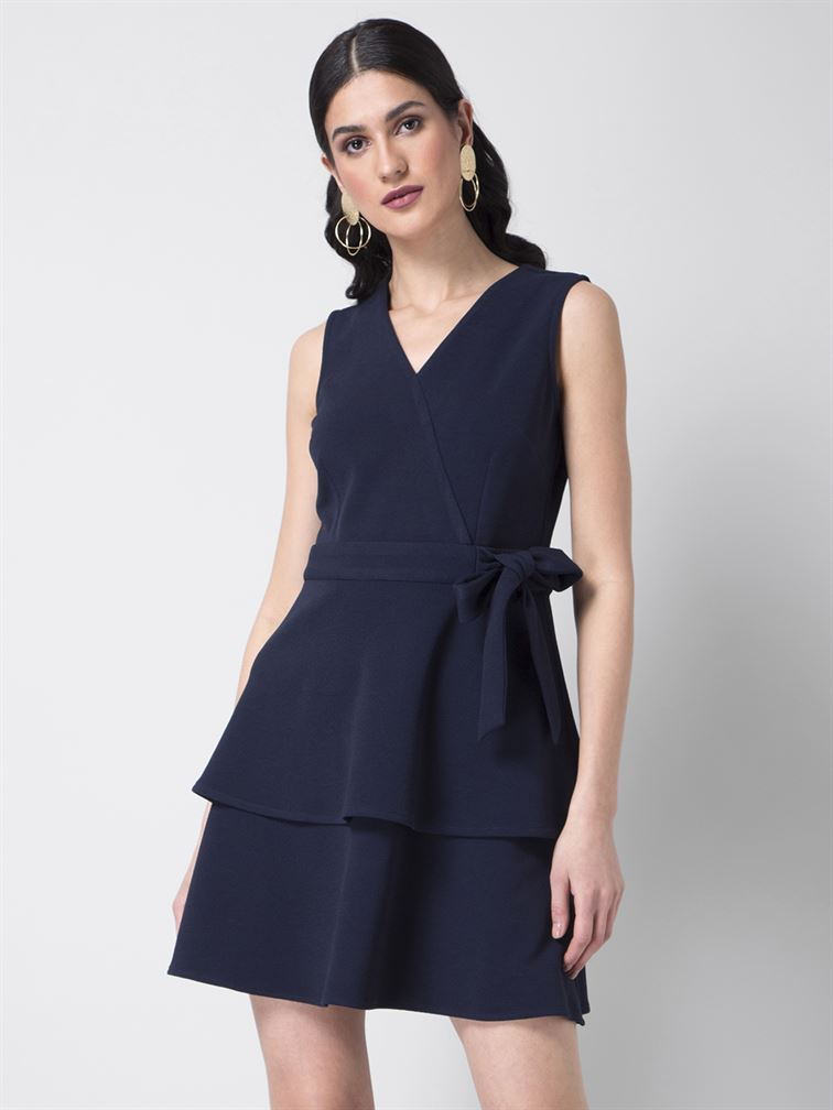 Faballey Women Party Wear Blue Skater Dress