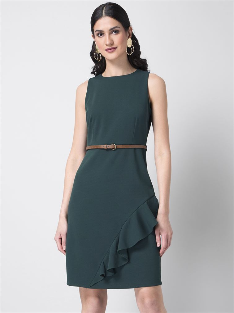 Faballey Women Party Wear Green Shift Dress With Belt