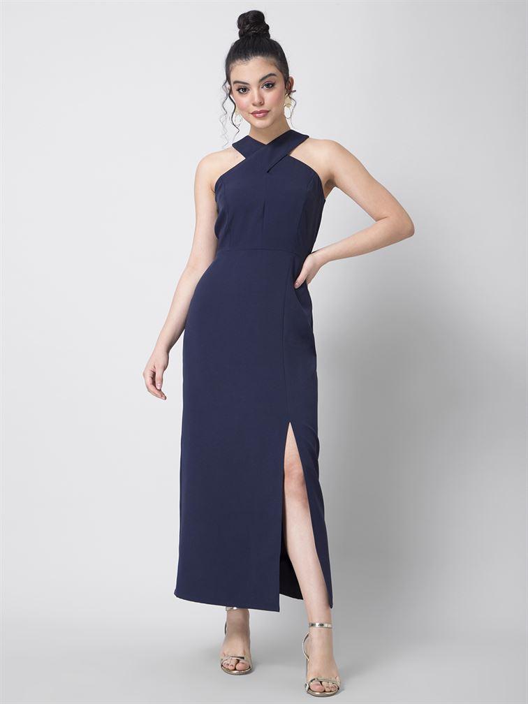 Faballey Women Party Wear Blue Maxi Dress With Side Slit