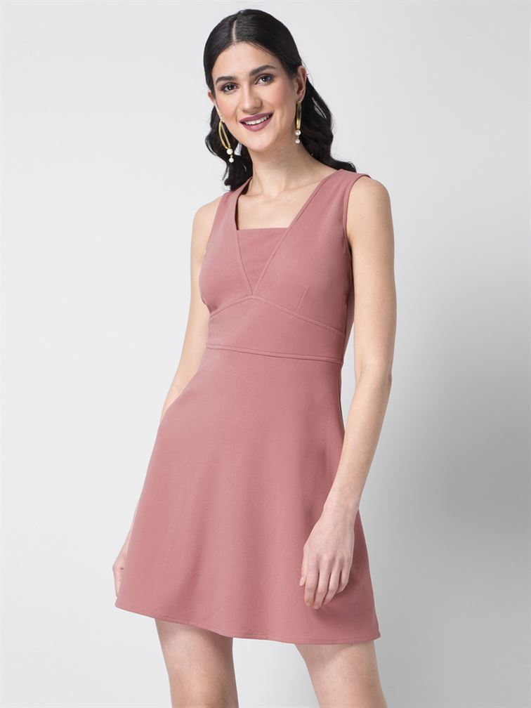 Faballey Women Party Wear Pink Skater Dress