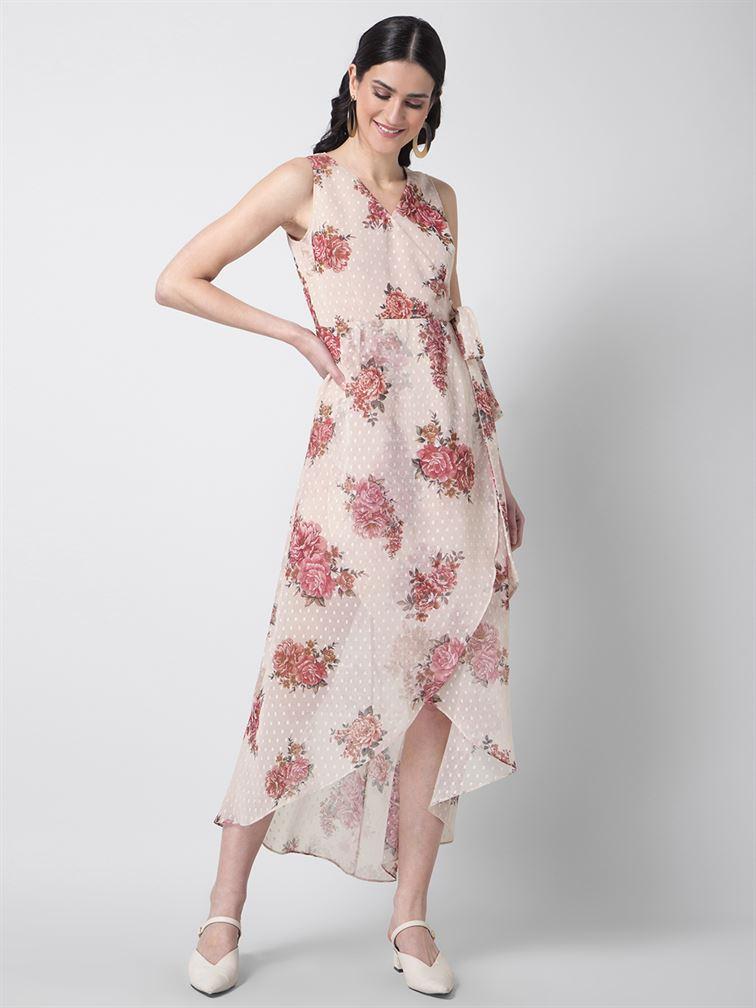 Faballey Women Casual Wear Peach Wrap Dress