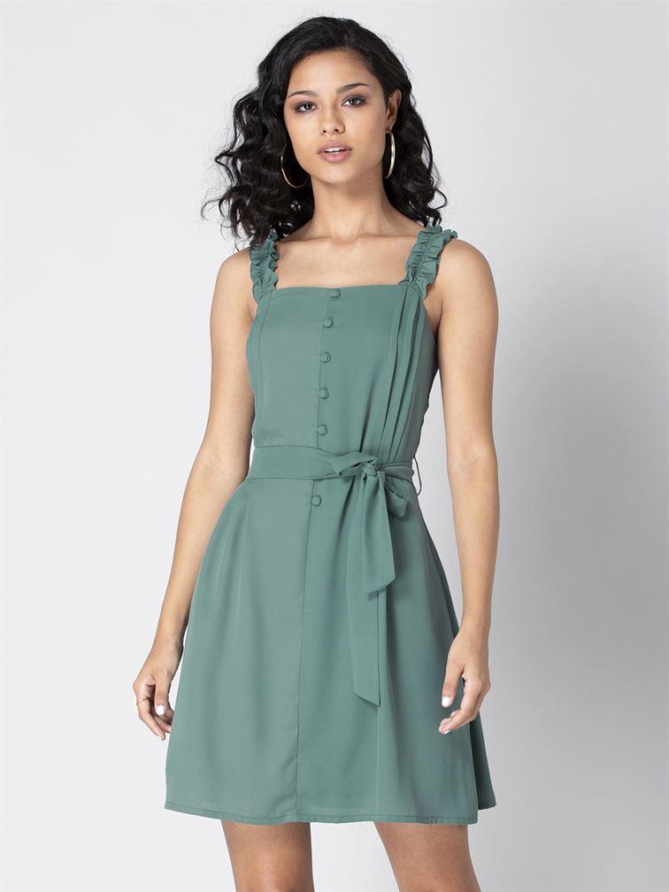 Faballey Women Casual Wear Green Skater Dress With Belt