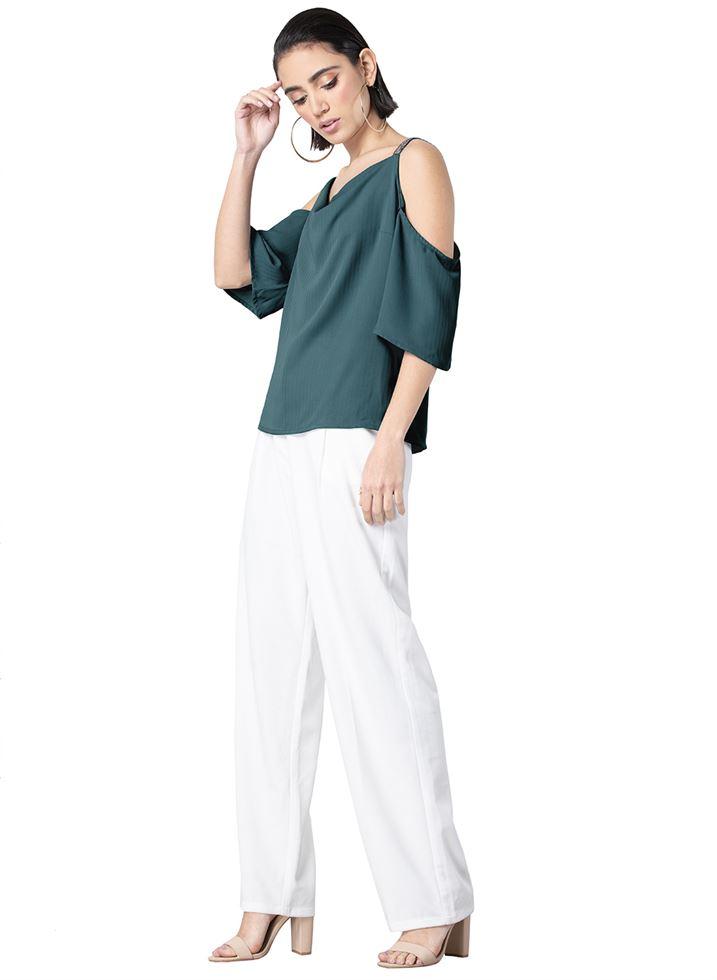 Faballey Women Casual Wear Green Top