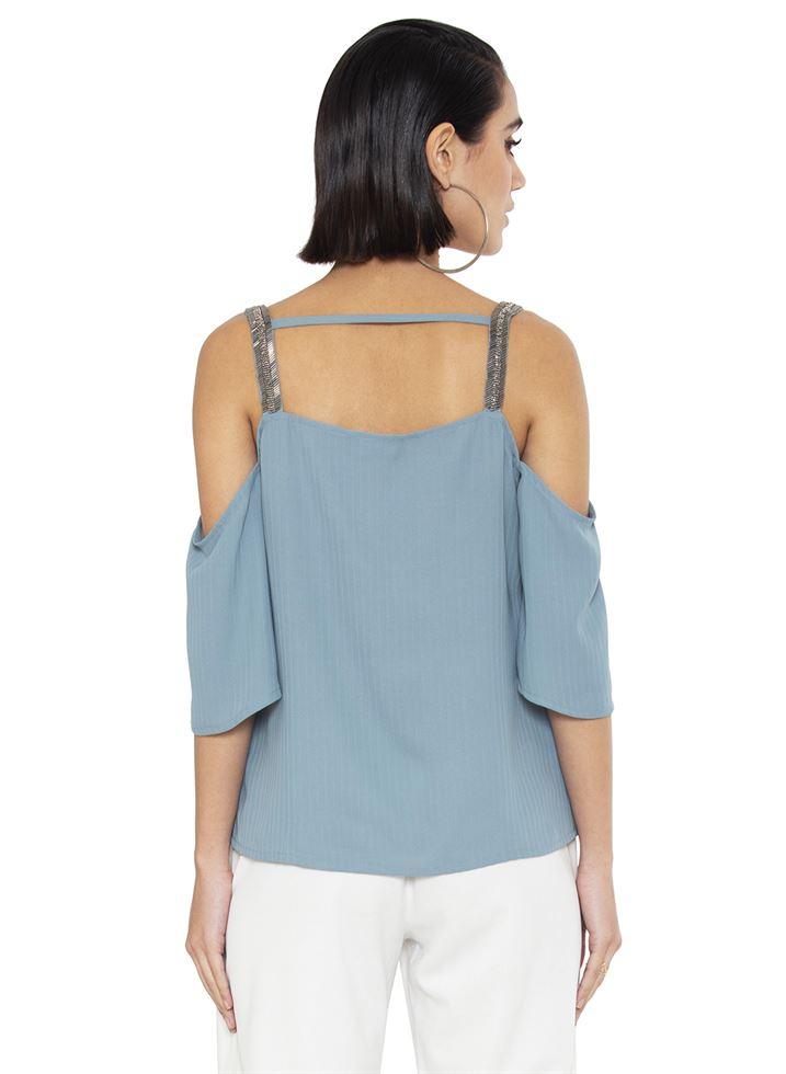 Faballey Women Casual Wear Blue Top