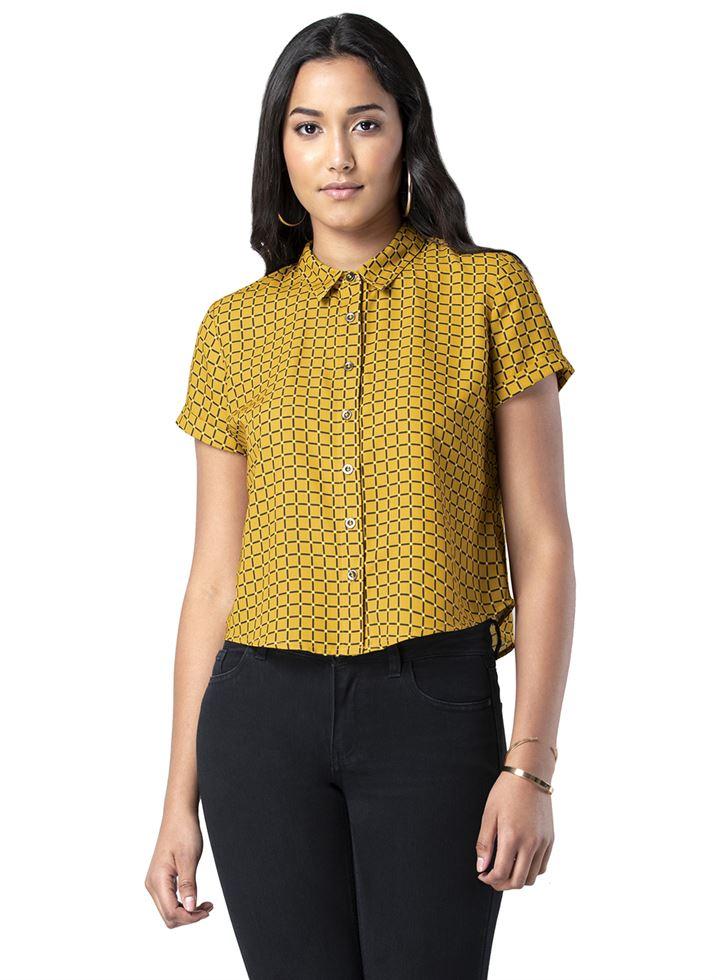 Faballey Women Casual Wear Yellow Top