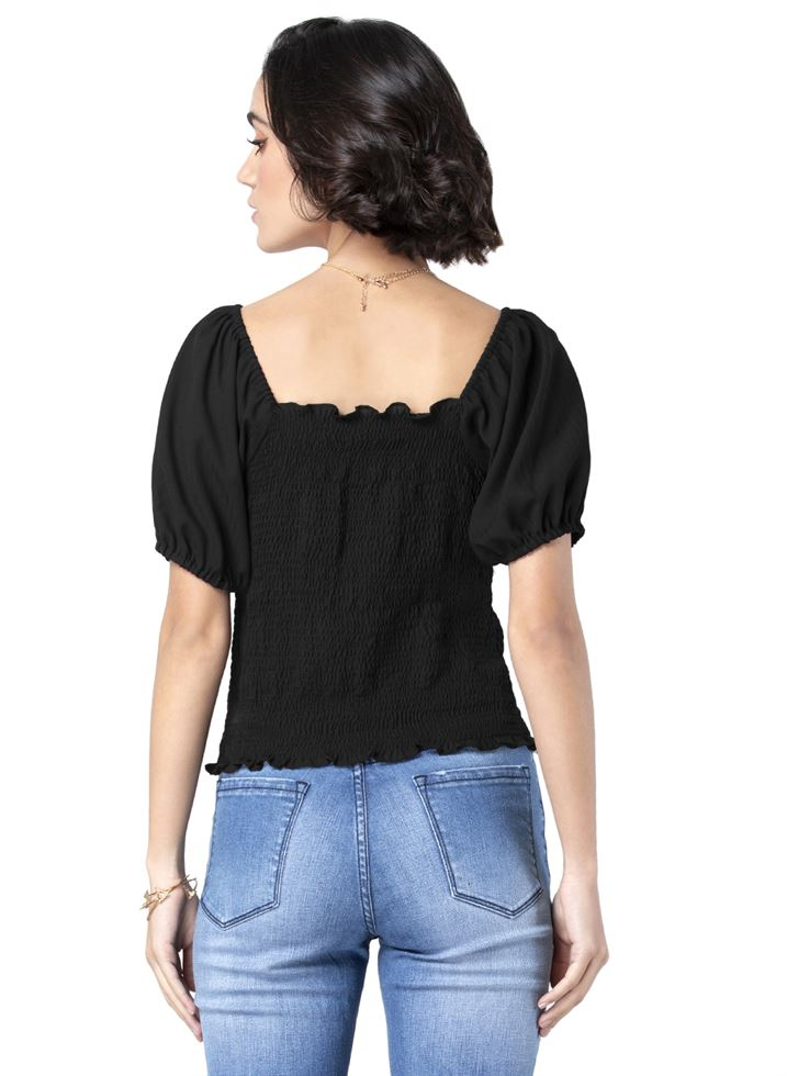 Faballey Women Casual Wear Black Top