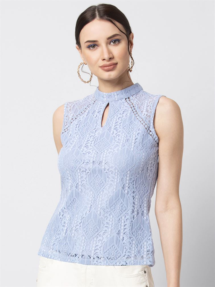 Faballey Women Casual Wear Blue Lace Top