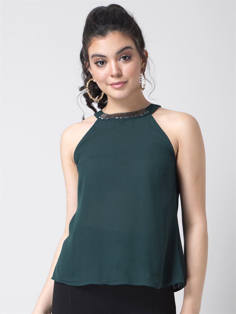 Faballey Women Casual Wear Dark Green A-Line Top
