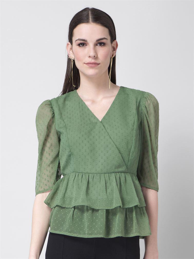 Faballey Women Casual Wear Green Peplum Top