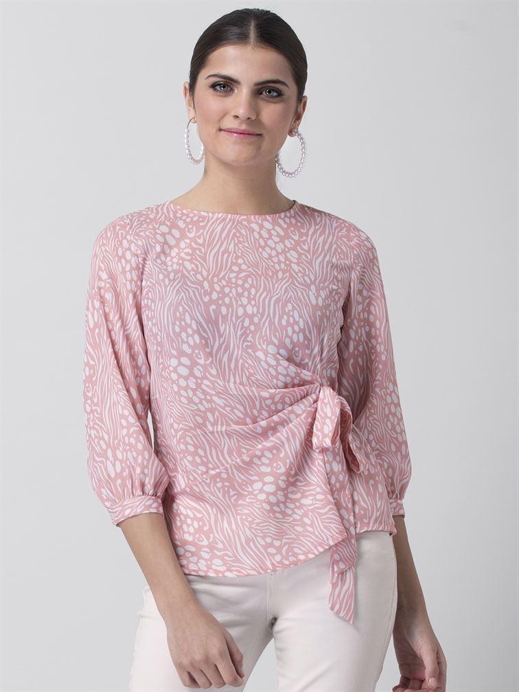Faballey Women Casual Wear Pink Wrap Top