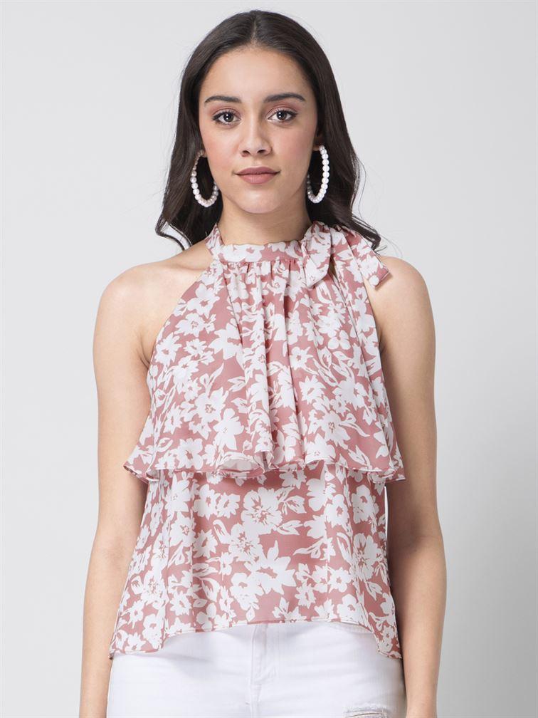 Faballey Women Casual Wear Pink Ruffle Top