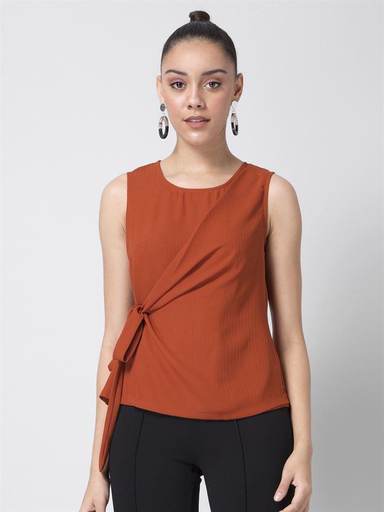 Faballey Women Casual Wear Orange Wrap Top
