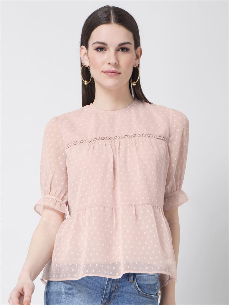 Faballey Women Casual Wear Pink Peplum Top