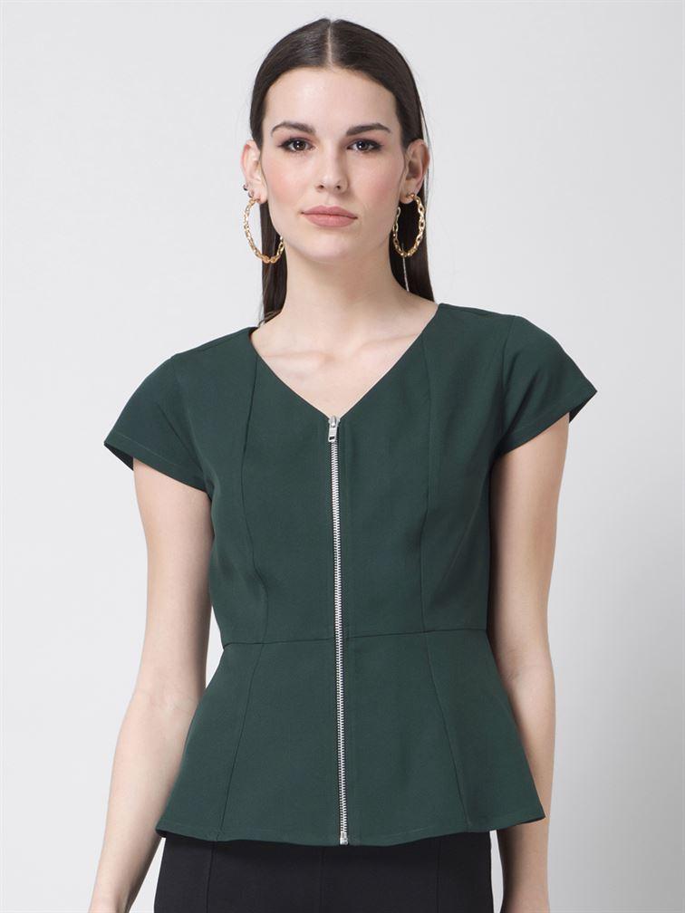 Faballey Women Casual Wear Dark Green Peplum Top