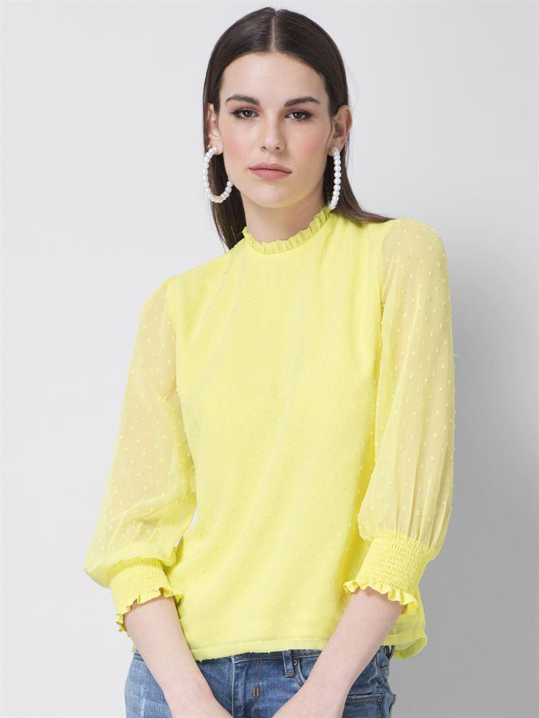 Faballey Women Casual Wear Yellow Regular Top