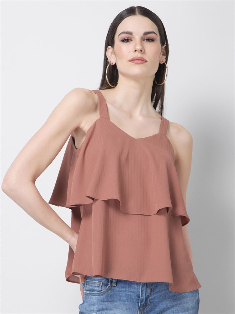 Faballey Women Casual Wear Pink Fit & Flare Top