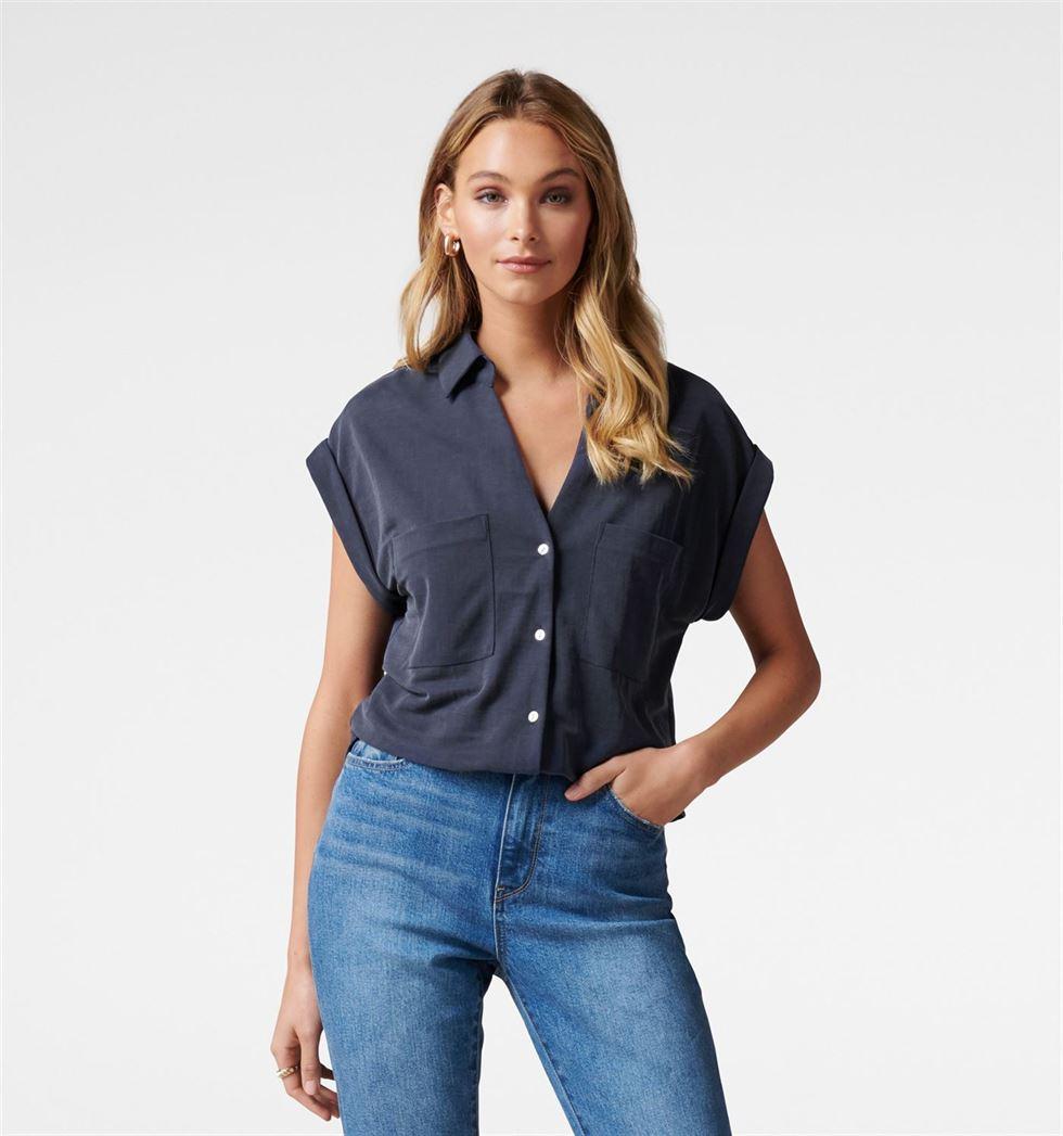 Forever New Women Casual Wear Navy Shirt