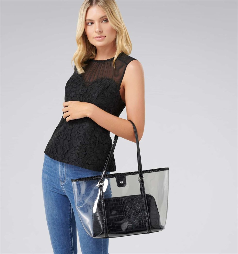 Forever New Women's Clear Shoulder Bag with pouch