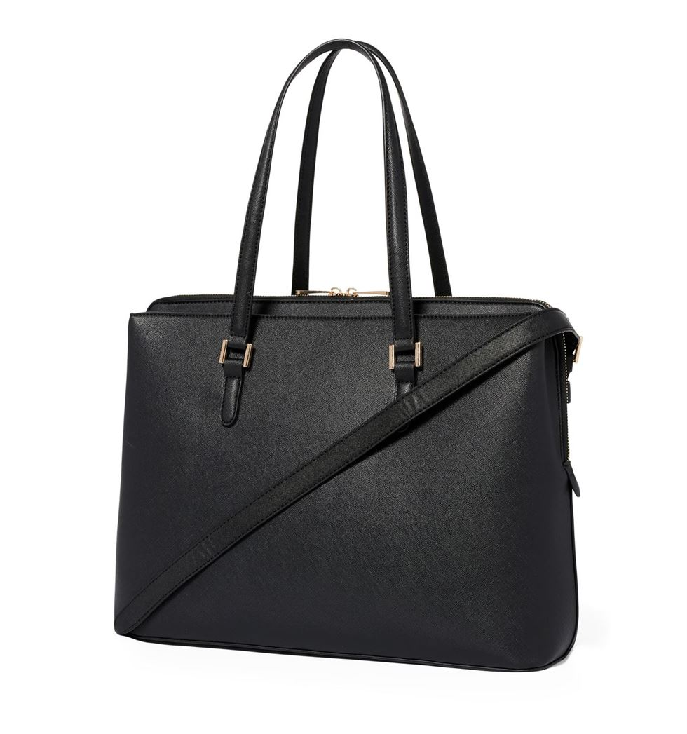 Forever New Women's Black Laptop Bag with Detachable Shoulder Strap