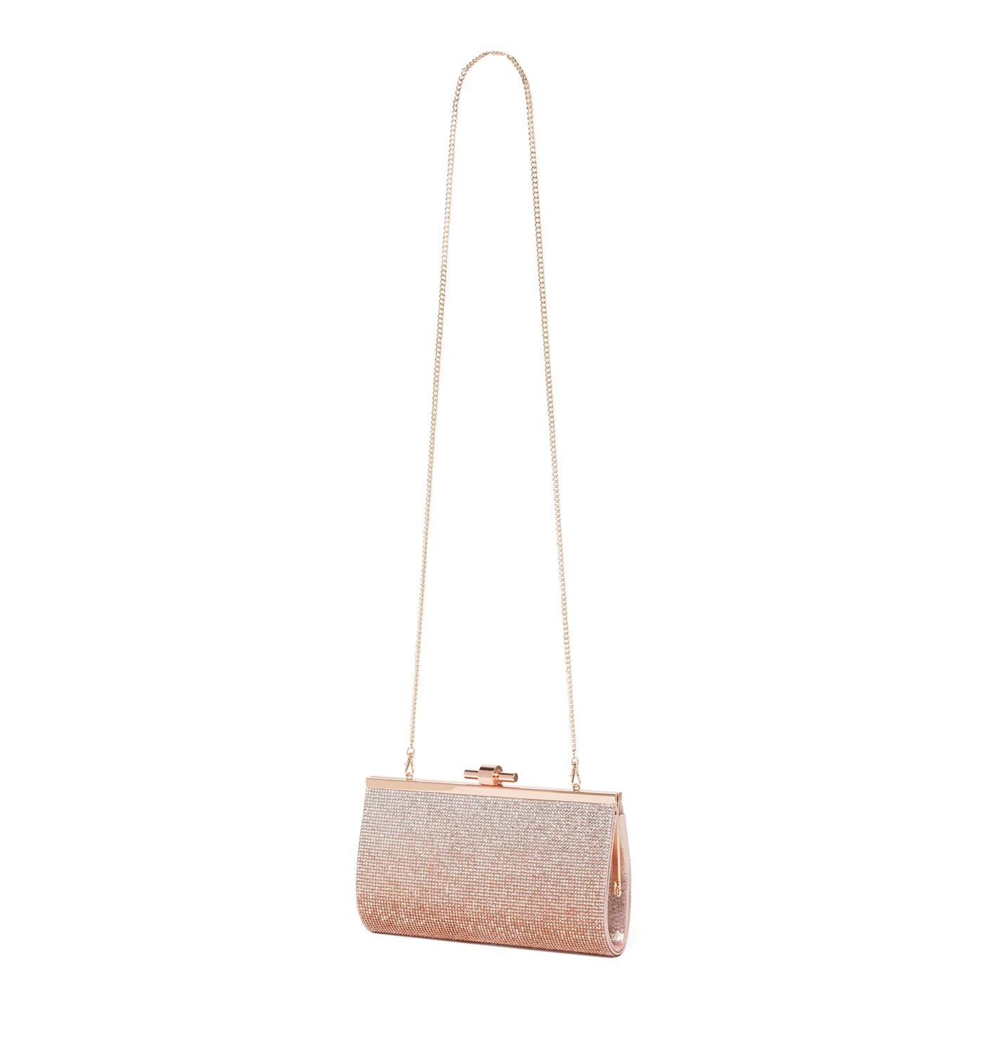 Forever New Women's Pink Clutch with Detachable Shoulder Chain