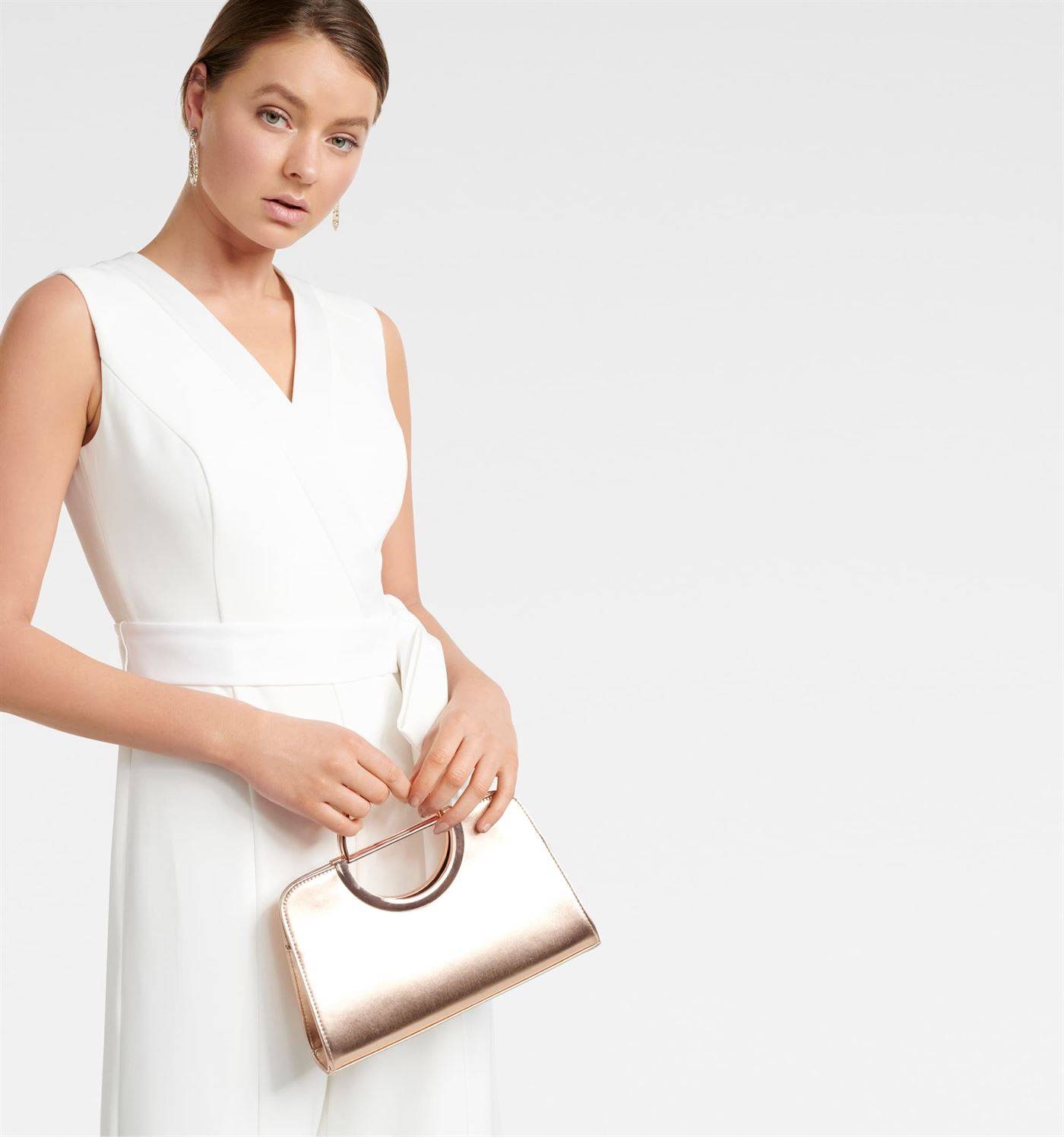 Forever New Women's Golden Sling Bag with Detachable Chain
