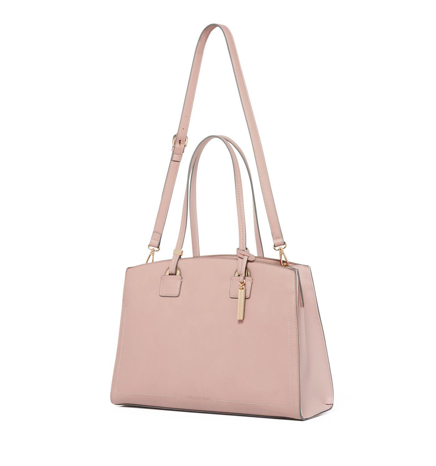 Forever New Women's Pink Laptop Bag with Detachable Shoulder Strap