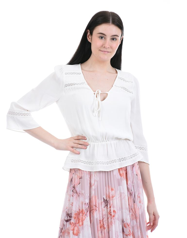 Forevernew Women Casual Wear White Peplum Top