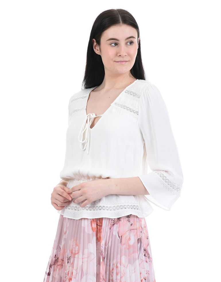 Forever New Women Casual Wear White Peplum Top