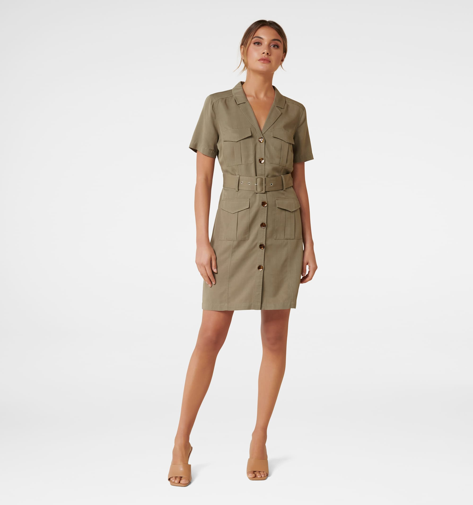 Forever New Women Casual Wear Olive Dress