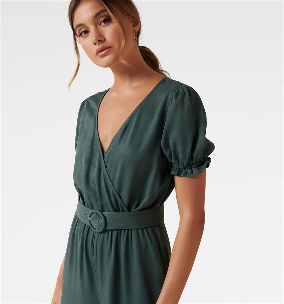 Forever New Women Party Wear Green Jumpsuit