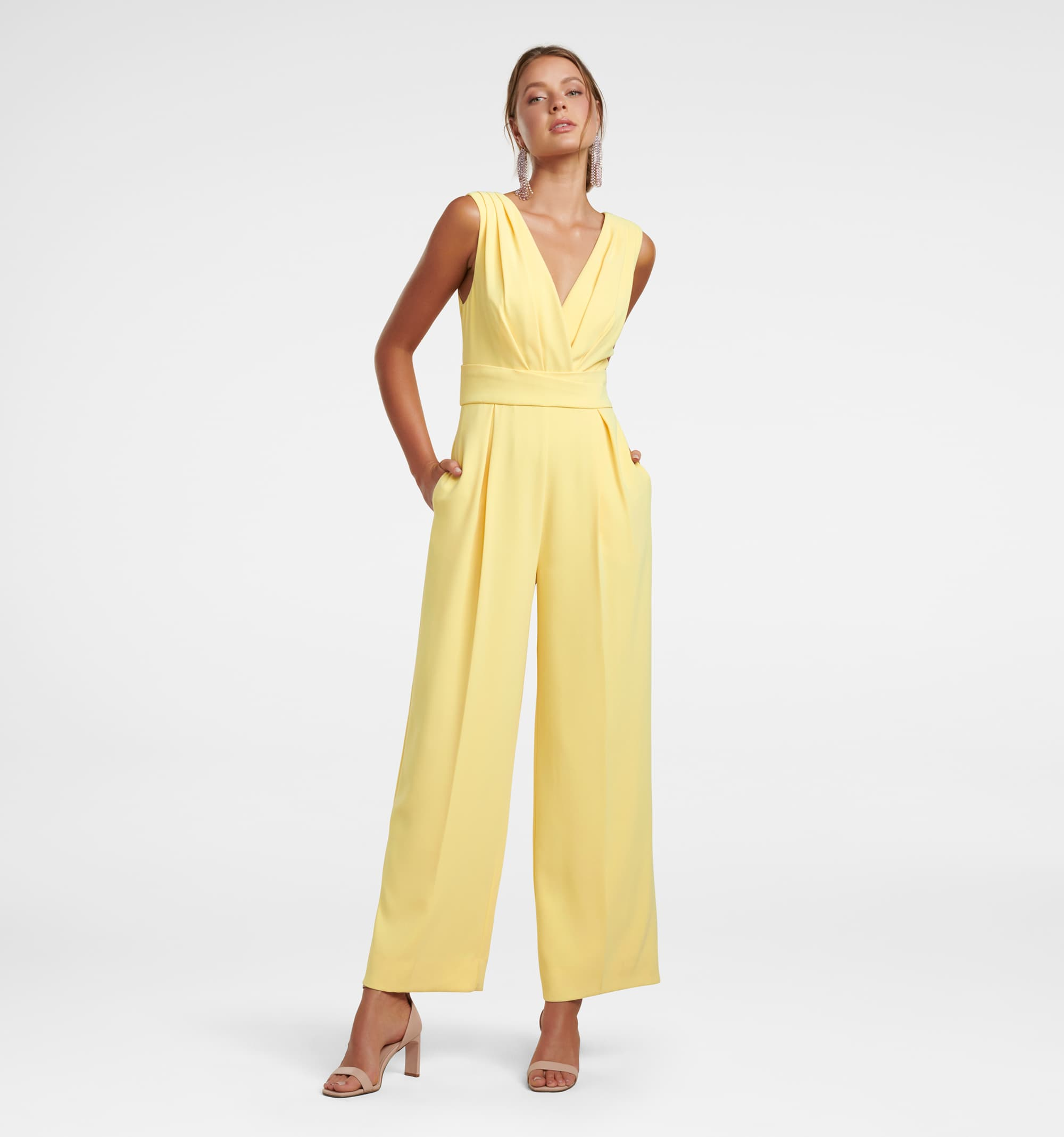 Forever New Women Party Wear Yellow Jumpsuit