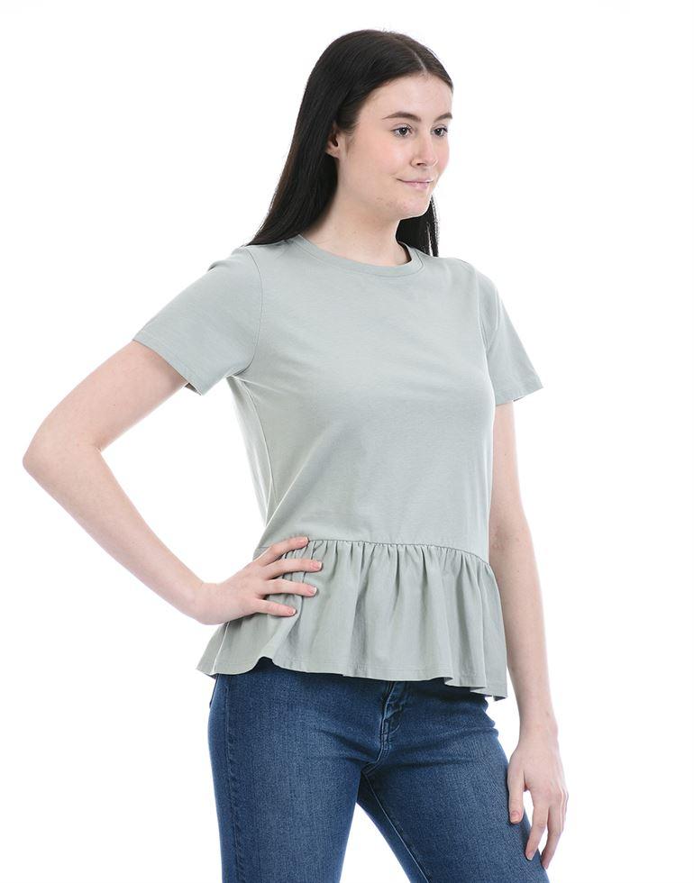 Forever New Women Casual Wear Grey Peplum Top