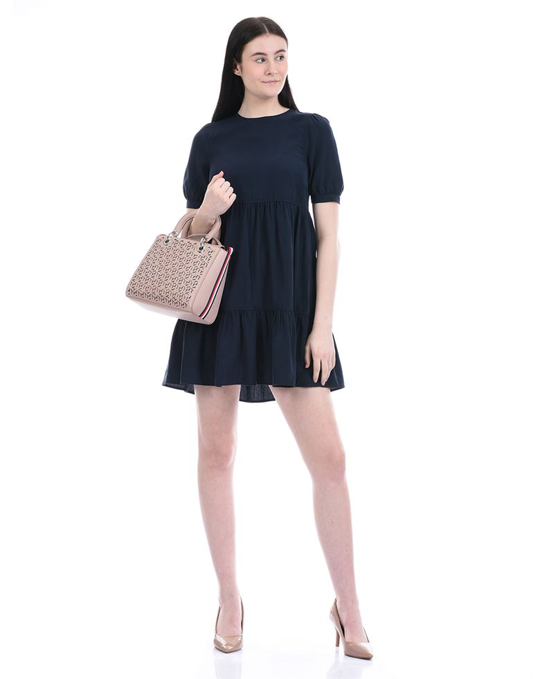 Forever New Women Casual Wear Navy Blue Fit & Flare Dress