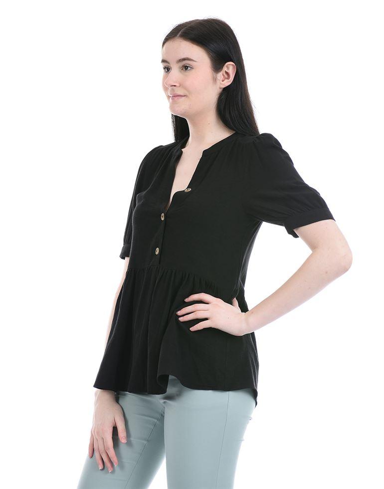 Forever New Women Casual Wear Black Peplum Top