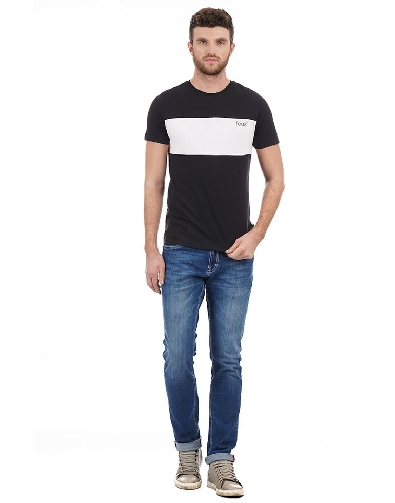 French Connection Men Casual Wear Solid T-Shirt
