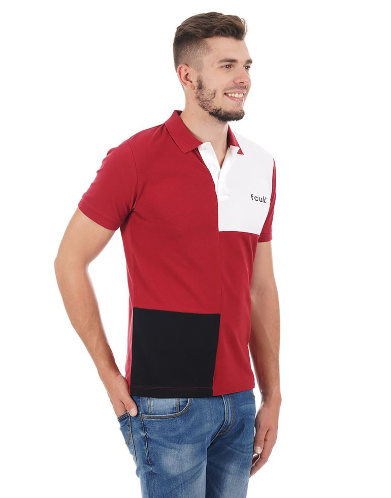 French Connection Men Casual Wear Color Block Polo T-Shirt