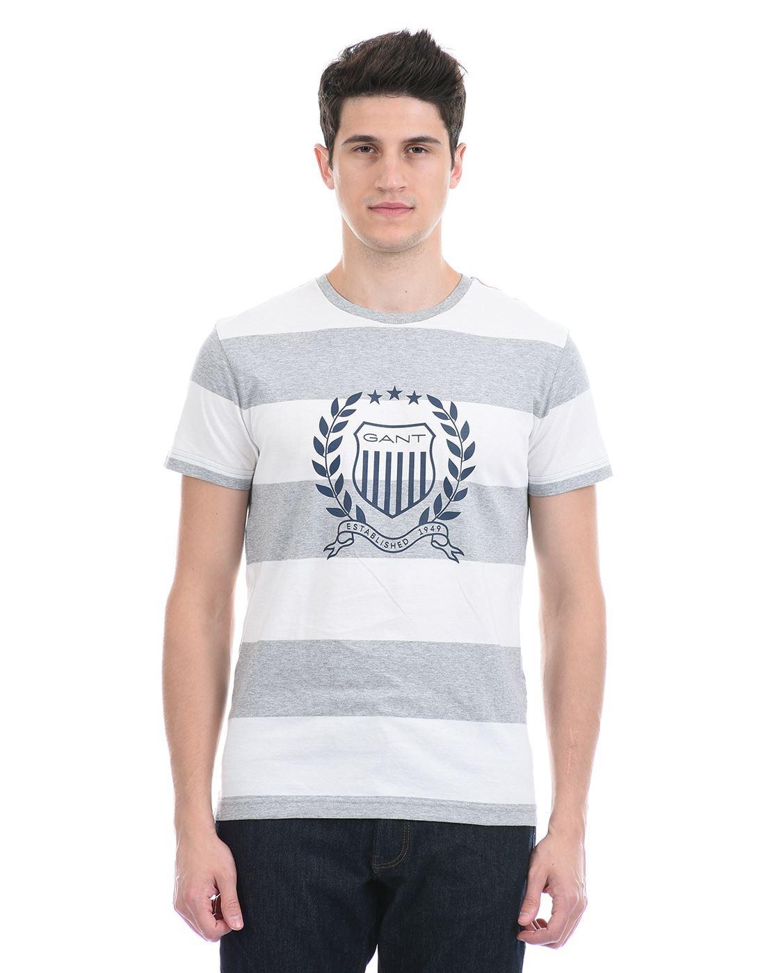 Gant Men Casual Wear Grey T-Shirt