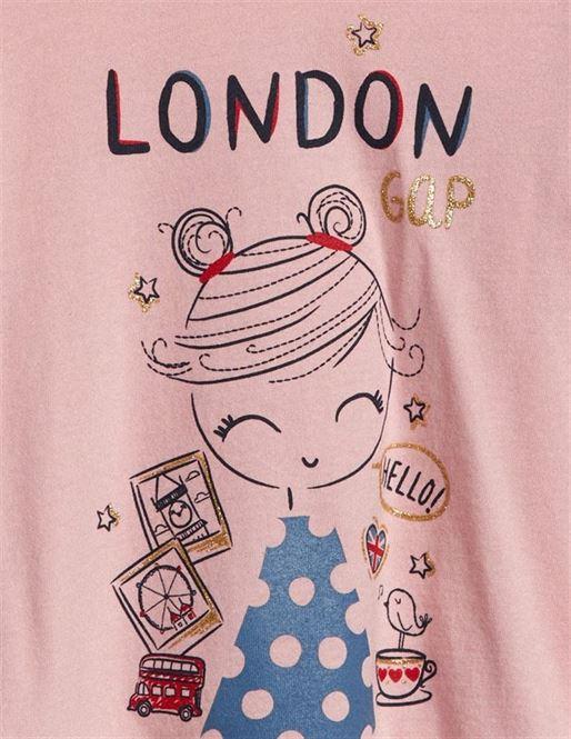 Gap Girls Pink Printed T-Shirt