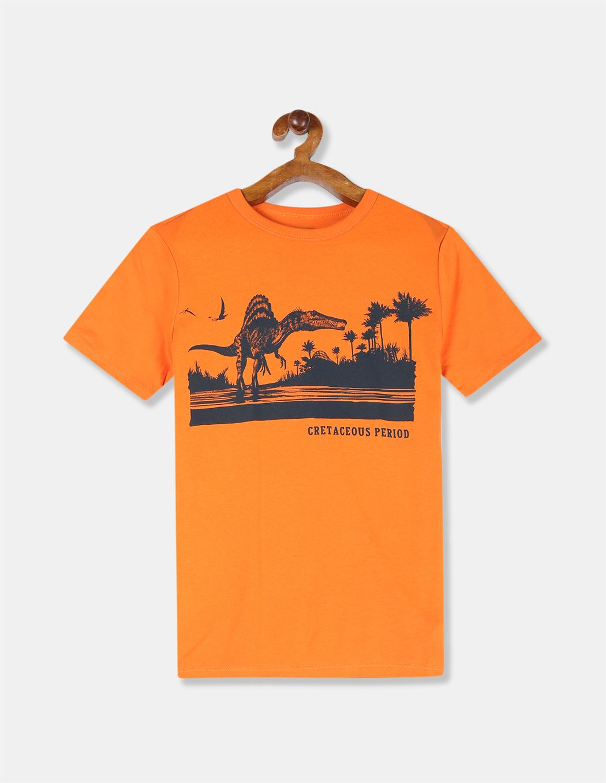 GAP Boys Orange Printed T-Shirt