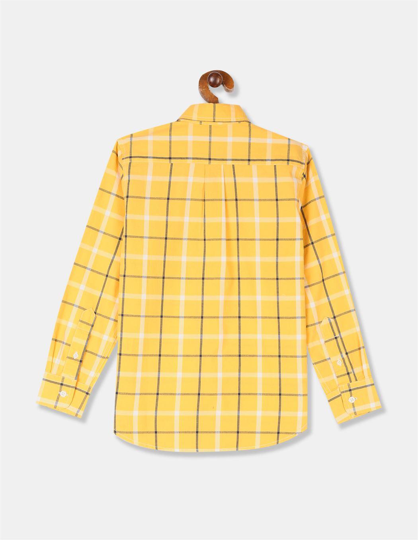 GAP Boys Yellow Checkered Shirt