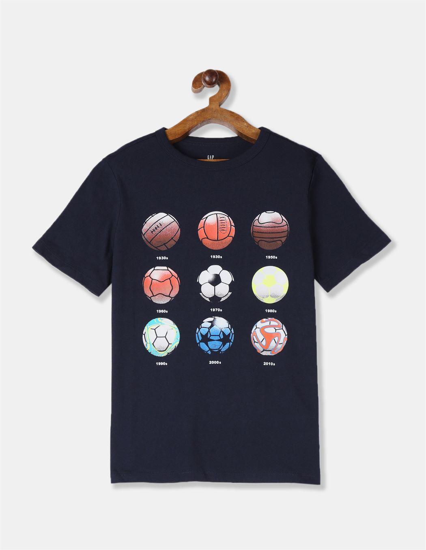 GAP Boys Blue Printed T-Shirt