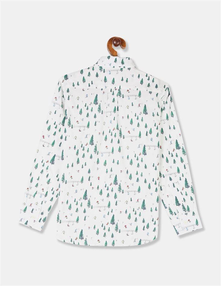 GAP Boys White Printed Shirt